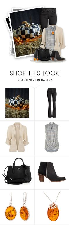"""""""Checked Pumpkin"""" by mwaldhaus ❤ liked on Polyvore featuring MacKenzie-Childs, H&M, River Island, Tory Burch and Be-Jewelled"""
