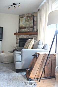 Living room with south west facing exposure and rock fireplace with mantle. Kylie M E-design Best Paint Colors, Room Paint Colors, Paint Colors For Living Room, Paint Colors For Home, Wall Colors, Grey And Brown Living Room, Cream Living Rooms, Living Room Furniture, Living Room Decor