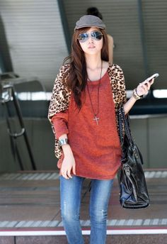 Fashion Dolman Sleeve Loose Leopard Matched T-Shirt on DressLuck.com