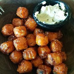 SWEET Potato Tots:  Sage maple butter  French sea salt (photo by @tinita80) #YouFancy #yum #tasty #snack #tots #sweetpotato #cambma #cambridgema #cambridge #boston by bukscambridge September 27 2015 at 12:25PM