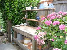 we had to replace posts in our fence, the Hydrangea and th…   Flickr Bench Legs, Outdoor Furniture, Outdoor Decor, Hydrangea, Fence, Vines, Landscaping, Recycling, Posts