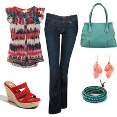 Coral & Turquoise, created by tbeecroft on Polyvore