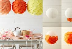 Makkelijk en goedkoop. De lamp komt van de IKEA, samen met wat eenvoudige ronde plakblaadjes een prachtresultaat!