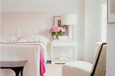 White bedroom + Pink Roses