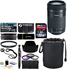 Canon EF-S 55-250mm F/4-5.6 IS STM Telephoto Zoom Lens for EOS Digital SLR Cameras & Accessories: 32GB Card + Card Reader + Pouch + Lens Band + Hood + UV Filter Kit + More - Complete Accessory Bundle