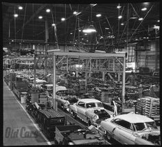 1952 Oldsmobile, Pontiac and Buick hardtops move down the GM's Fairfax plant's line.
