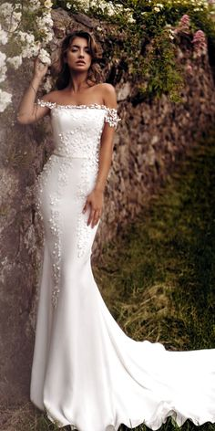 fashion forward wedding dresses a line off the shoulder floral lace blush madi lane Image via: HERE Gorgeous wedding dress ! Completely my style 🙂 Image via: HERE Boho Off the Shoulder Wedding Dress Wedding Dresse. Cowl Neck Wedding Dress, Wedding Dress Black, Western Wedding Dresses, Wedding Dress Trends, Best Wedding Dresses, Bridal Dresses, Wedding Gowns, Wedding Bride, Trendy Wedding