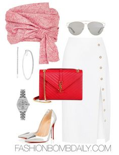 Summer 2016 Style Inspiration Fourth of July Inspired Outfit Ideas Adeam Wrap Bustier Top Cushnie et Ochs Button-embellished stretch-cady skirt Christian Louboutin So Kate Pump