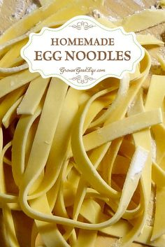 Three simple ingredients are all you need to make your own fresh, homemade egg noodles. If you keep a flock of chickens, egg noodles are a great way to use up your excess eggs.(Bake Ravioli From Scratch) Egg Noodle Recipes, Egg Recipes, Pasta Recipes, Real Food Recipes, Cooking Recipes, Yummy Food, Basic Egg Noodle Recipe, Tasty, Orange Recipes