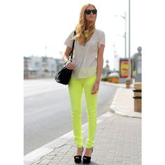 How to wear coloured jeans ❤ liked on Polyvore featuring backgrounds, people and pic