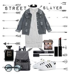 """Street slayer"" by saraprifti ❤ liked on Polyvore featuring Brunello Cucinelli, adidas, Tom Ford, Christian Dior, Witchery and Laura Mercier"