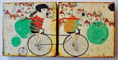 $45 Whimsical mixed media on Wood Panels of Labrador Dogs Cycling