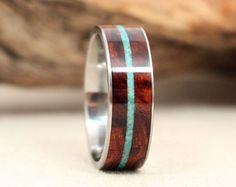 Arizona Desert Ironwood Wood Ring With Turquoise Inlay Titanium Ring