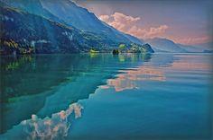Shore Reflection by Hanny Heim #lakebrienz #switzerlandtravel #lakereflection