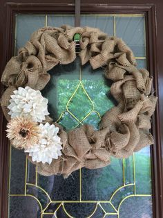 A personal favorite from my Etsy shop https://www.etsy.com/listing/236395763/burlap-wreath-with-floral-accent
