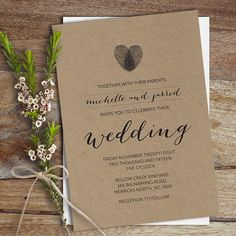 Wedding Invitation, Wedding Invite, DIY Printable, Heart Thumbprint