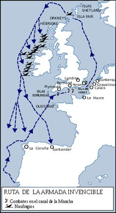 Map of the route taken by the Spanish Armada. File:Routes of the Spanish Armada. Uk History, European History, British History, World History, Tudor History, Spain History, Modern History, Normandie France, Shetland