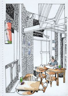 JR Sketches: Morning coffee at Cafe Capote