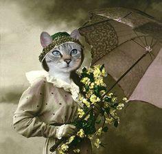 Paris - Vintage Cat 5x7 Print - Anthropomorphic - Altered Photo - Photo Collage Art - Whimsical Art - Yellow and Tan - Gift Idea. $15.00, via Etsy.