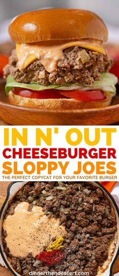 In-n-Out Cheeseburger Sloppy Joes have all the beefy, cheesy, special-saucy flavor of the California classic! Burger Recipes, Copycat Recipes, Meat Recipes, Cooking Recipes, Recipies, Cheese Burger, Meat Appetizers, Appetizer Recipes, Special Sauce Recipe