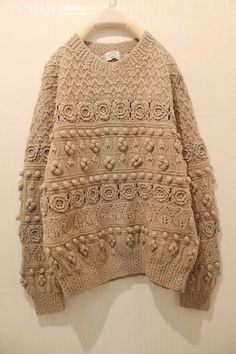 camel knitted oversized jumper with pattern and bobbles