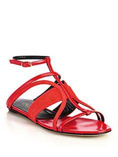 Oscar de la Renta - Lexina Suede & Patent Leather Sandals