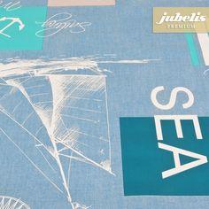 jubelis® Premium Wachstuch mit Geweberückseite extradick Delmara ocean sea Blau, Türkis und Weiß
