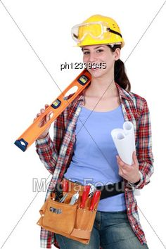 Female Construction Worker Holding Tools And Rolled-up Plan - Stock Photo Construction Birthday Parties, Construction Party, Construction Worker, Construction Contractors, Photos Of Women, Costumes For Women, What I Wore, Mardi Gras, Fancy Dress