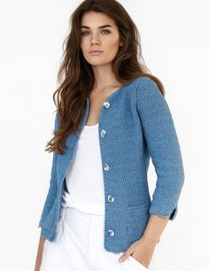Knit this simple, elegant cardigan from Kim Hargreaves' book; The button-down cardigan features cropped sleeves. The incredibly stylish garment can be dressed up or down to suit any occasion. Knit Jacket, Knit Cardigan, Vest, Sweater Knitting Patterns, Easy Knitting, Cardigans For Women, Jackets For Women, Womens Knit Sweater, Stylish Jackets