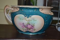 Vintage chamber pot - French Blue and Peachy Pink