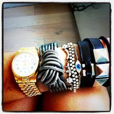 An Extensive Look at The Arm Party | Man Repeller    i could totally make that chain bracelet. look at the other pictures in the link too
