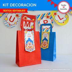 Plim Plim: decoración de fiesta para imprimir Circus Birthday, Circus Party, 2nd Birthday, Happy Birthday, Birthday Parties, Second Birthday Ideas, Fiesta Party, Some Ideas, Party Printables