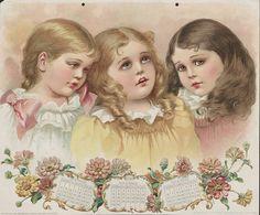 VINTAGE CALENDAR - October November December, 1896