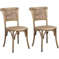 Joveco Antique Vintage Rattan Solid Elm Wood Dining Chair Set of 2... ($220) ❤ liked on Polyvore featuring home, furniture, chairs, dining chairs, elm wood furniture, rattan chairs, mocha chair, elm furniture and rattan dining chairs