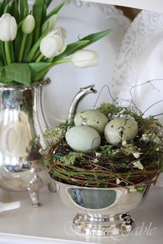 Elegant...tiny grapevine wreath with eggs for Spring