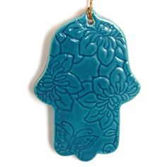 Home Decor handmade hamsa, turquoise color ornament for good luck, Lucy charm, evil eye protected, housewarming gift new home, clay