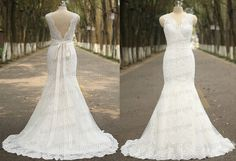 White/Ivory Wedding DressLace Wedding DressElegant by loveinprom