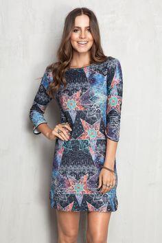 vestido recortes moletom estampado cosmic | Dress to