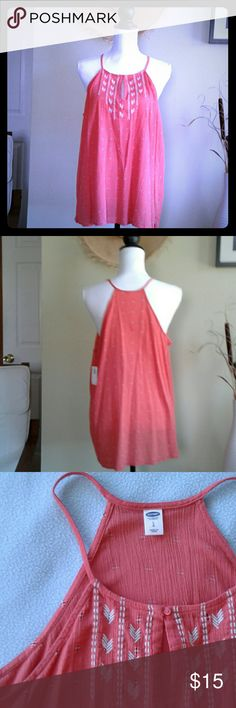 "NWT Old Navy High-Neck Orange Gauze Tank Top L High - neck gauze tank top. Orange color. Embroidered front top. 100% cotton.   Measurements when lying flat:    Length 22.50""    Armpits 21"" Old Navy Tops Tank Tops"