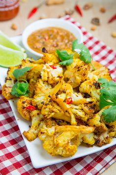 Closet Cooking: Roasted Cauliflower Satay with Spicy Peanut Dipping Sauce