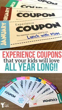 Experience Coupons That Last All Year Long - Uplifting Mayhem Give the gift that keeps on giving all year long with these EXPERIENCE COUPONS. Give the quality of time and fun experiences to share with your kids! Gift Coupons, Love Coupons, What Is Sleep, Kids Fever, True Meaning Of Christmas, Gift Of Time, Experience Gifts, Friends Mom, Christmas Traditions