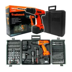 78-Piece Set: 18-Volt Cordless Drill with Durable Plastic Carry Case
