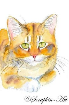 De originele aquarel gember Kitten
