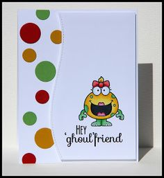 BlueFogStudio: Silly Monster - Color Challenge #18 - Your Next Stamp   funny handmade card   modern handmade card