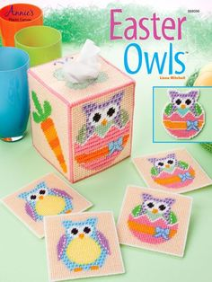 Owl lovers can now get ready for the holidays with this adorable Easter Owl set. Coasters, magnets, and a tissue box cover are all included in this pattern. Magnets are stitched on plastic canvas and remaining designs are stitched on Plastic Canvas Books, Plastic Canvas Coasters, Plastic Canvas Stitches, Plastic Canvas Ornaments, Plastic Canvas Tissue Boxes, Plastic Canvas Christmas, Plastic Canvas Crafts, Plastic Canvas Patterns, Plastic Board