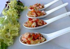 Cucharitas de langostinos y piña con vinagreta Más