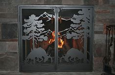 #Custom #fireplace screens designed to fit your style and decor. Great for home or lodge. Visit www.NatureRails.com for more artistic metal designs.