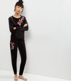 Cameo Rose Black Floral Embroidered Velvet Joggers | New Look