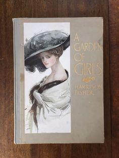 "Harrison Fisher ""A Garden Of Girls"" Antique Art Book 1910 First Edition RARE"