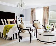 Black, White, Green & Grey Bedroom